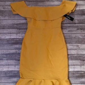Lulu's Mustard Off-The-Shoulder Bodycon Dress